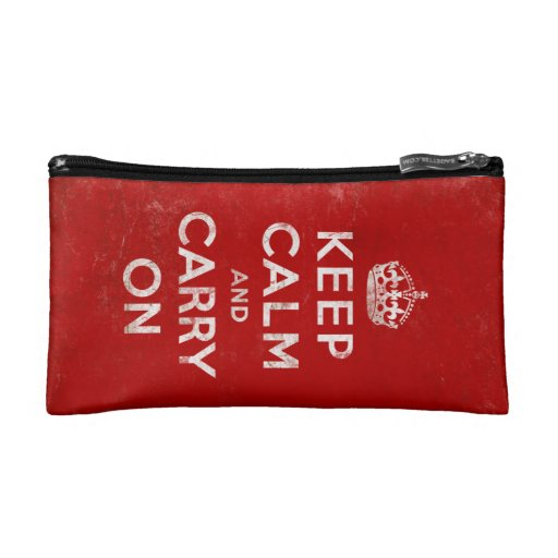 Vintage-Look Keep Calm and Carry On Makeup Bag
