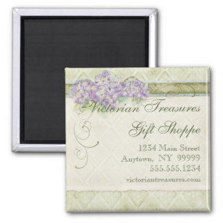 Vintage Look Lilac Hydrangea -  Business Cards 2 Inch Square Magnet