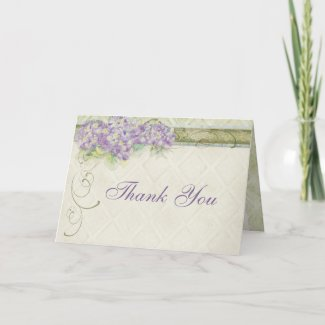 Vintage Look Lilac Hydrangea, Thank You Note card