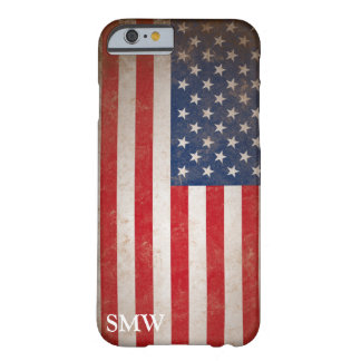 Vintage Look Monogram USA Patriotic Flag Design Barely There iPhone 6 Case