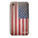 Vintage Look Monogram USA Patriotic Flag Design iPhone 3 Case