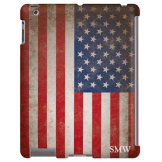 Vintage Look Monogram USA Patriotic Flag Design