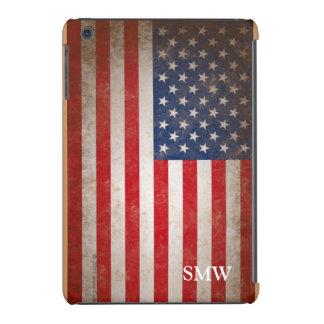 Vintage Look Monogram USA Patriotic Flag Design iPad Mini Retina Cover