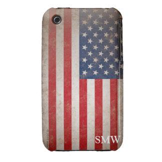 Vintage Look Monogram USA Patriotic Flag Design iPhone 3 Case-Mate Case