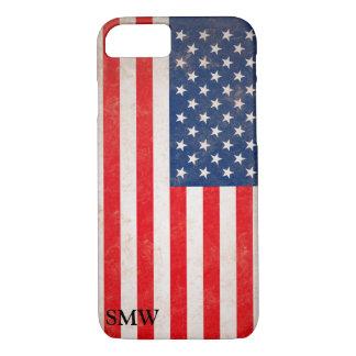 Vintage Look Monogram USA Patriotic Flag Design iPhone 8/7 Case