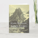 [ Thumbnail: Vintage Look Mountain Scene Birthday Greeting Card ]