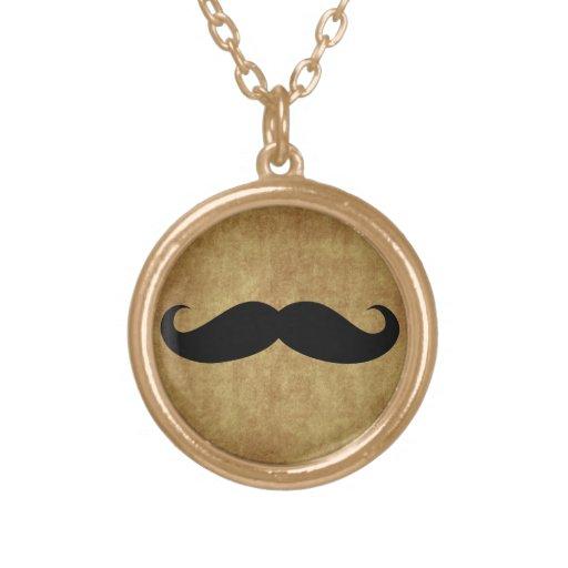 Vintage-Look Moustache Mustache Pendant Necklace