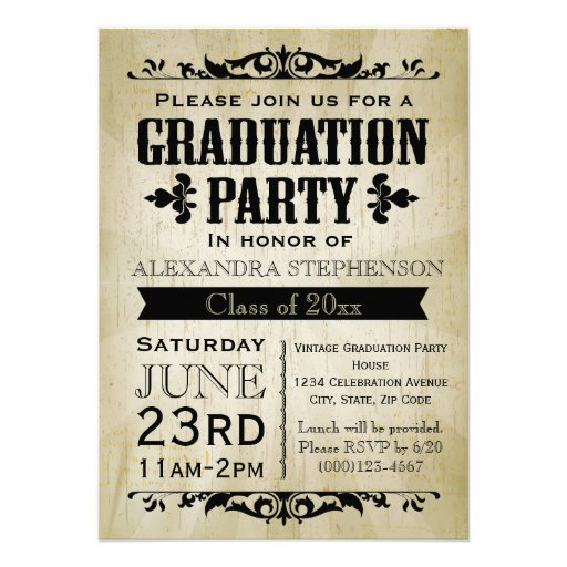 Personalized cookout invitations custominvitations4u vintage look old time graduation party invitation filmwisefo Images