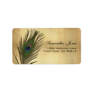 Vintage Look Peacock Feather Custom Address Label