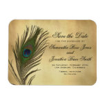 Vintage Look Peacock Feather Elegant Save the Date Rectangular Photo Magnet