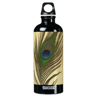 Vintage Look Peacock Feather on Gold Aluminum Water Bottle