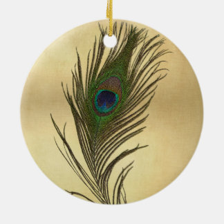 Vintage Look Peacock Feather on Gold Ceramic Ornament