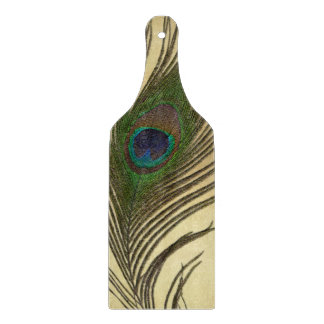 Vintage Look Peacock Feather on Gold Cutting Board