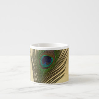 Vintage Look Peacock Feather on Gold Espresso Cup