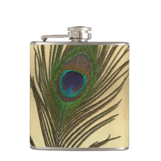 Vintage Look Peacock Feather on Gold Flask
