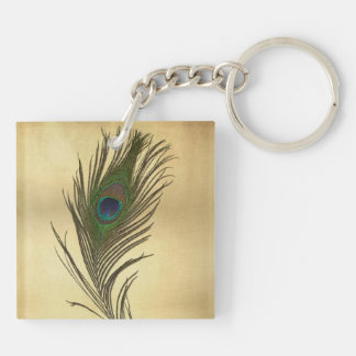 Vintage Look Peacock Feather on Gold Keychain