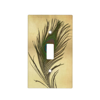 Vintage Look Peacock Feather on Gold Light Switch Cover