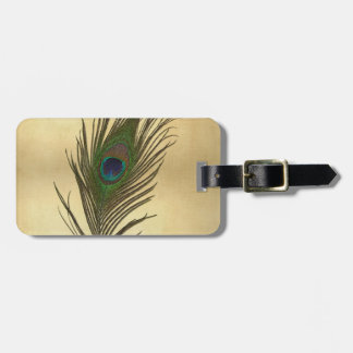 Vintage Look Peacock Feather on Gold Tags For Bags