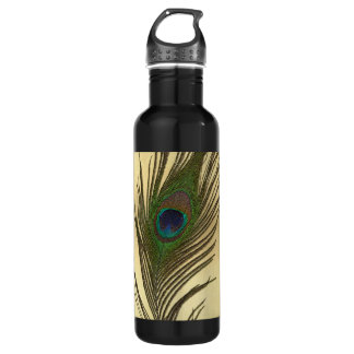 Vintage Look Peacock Feather on Gold Stainless Steel Water Bottle