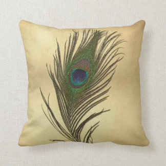 Vintage Look Peacock Feather on Gold Throw Pillow