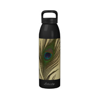 Vintage Look Peacock Feather on Gold Reusable Water Bottle