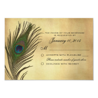 Vintage Look Peacock Feather RSVP Custom 3.5x5 Paper Invitation Card