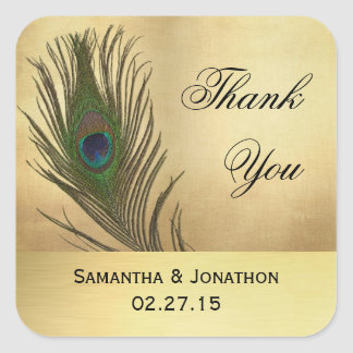 Vintage Look Peacock Feather Wedding Favor Labels Square Sticker