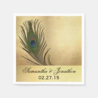 Vintage Look Peacock Feather Wedding Napkin