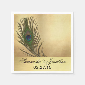 Vintage Look Peacock Feather Wedding Paper Napkin