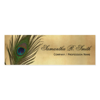 Vintage Look Peacock Feathers Elegant Skinny Double-Sided Mini Business Cards (Pack Of 20)