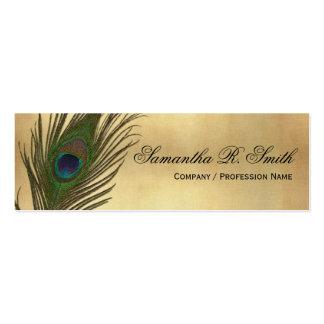 Vintage Look Peacock Feathers Elegant Skinny Mini Business Card