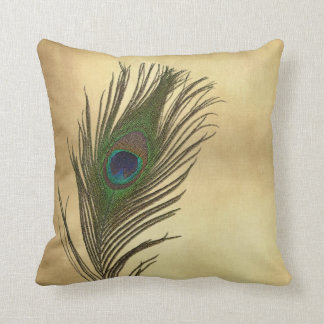 Vintage Look Peacock Feathers Elegant Throw Pillow