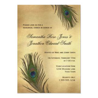 Vintage Look Peacock Feathers Rehearsal Dinner Invitation