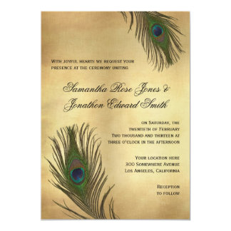 Vintage Look Peacock Feathers Wedding Invitation