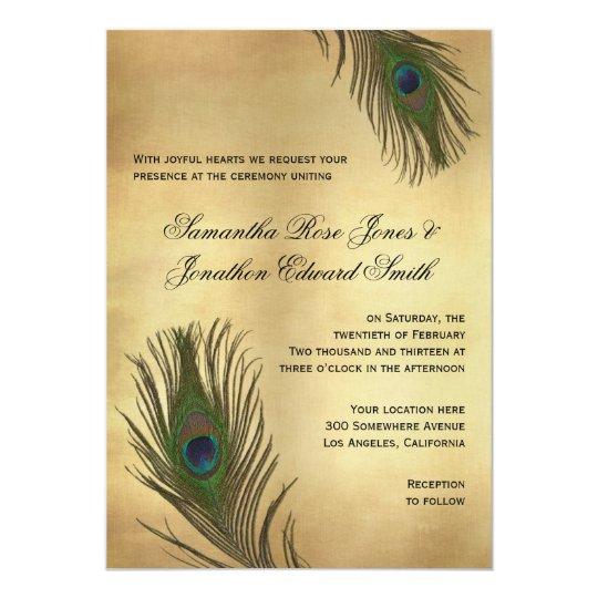 Vintage Look Peacock Feathers Wedding Invitation Zazzle Com