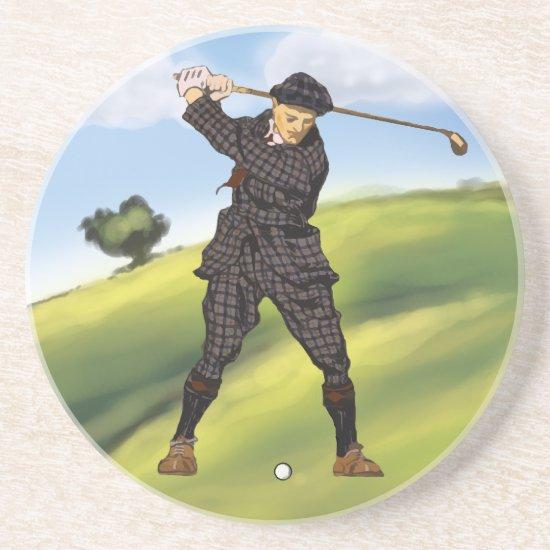 Vintage look Period golfer drinks coaster