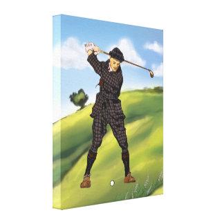 Vintage look Period Golfer Golf Canvas Print
