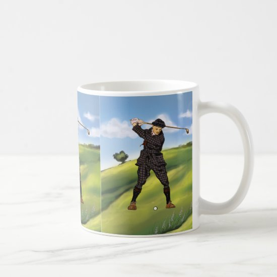 Vintage look Period Golfer Golf Large Mug