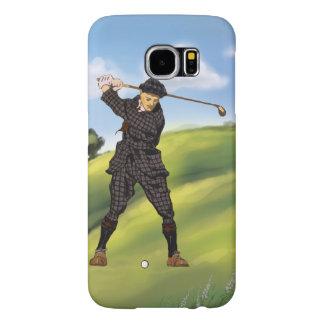 Vintage look Period Golfer Golf Samsung Galaxy S6 Case