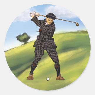 Vintage look Period Golfer Golf Round Sticker