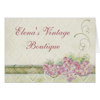 Vintage Look Pink Hydrangea, Correspondence Note card