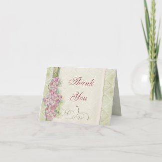 Vintage Look Pink Hydrangea, Thank You Note Cards card
