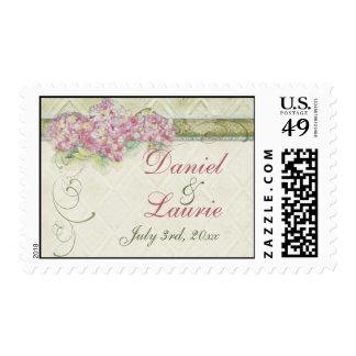 Vintage Look Pink Hydrangea - Wedding Love Postage