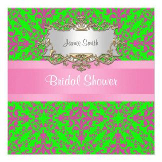 Vintage Look Pink Lime Grn Damask #3 Bridal Shower Invitations