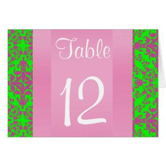 Vintage Look Pink Lime Grn Damask #3 Table Number
