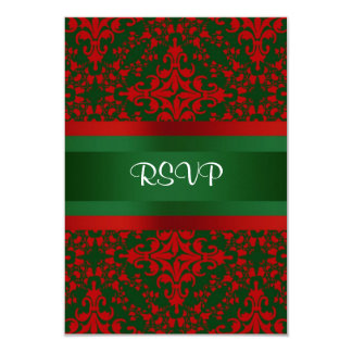 Vintage Look Red & Green Damask #2 Card