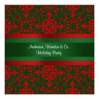 Vintage Look Red & Green Damask #2 Personalized Announcement