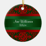Vintage Look Red & Green Damask #2 Christmas Tree Ornaments