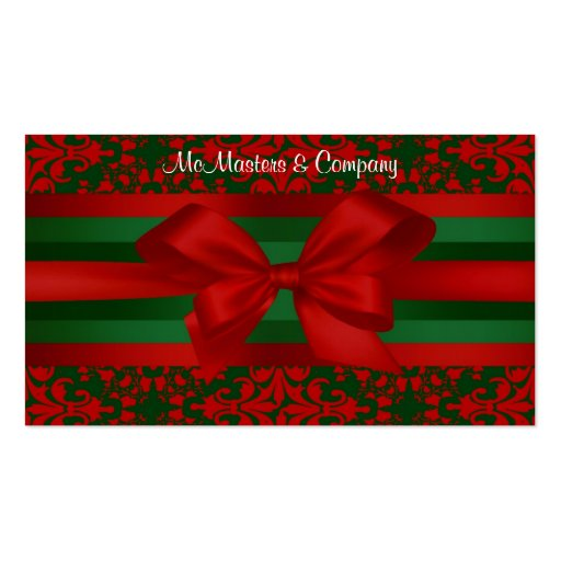 Vintage Look Red & Green Damask #2 With Bow Double-Sided Standard Business Cards (Pack Of 100)