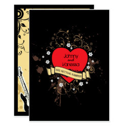 Vintage Look Rock & Roll Music Themed Wedding Card